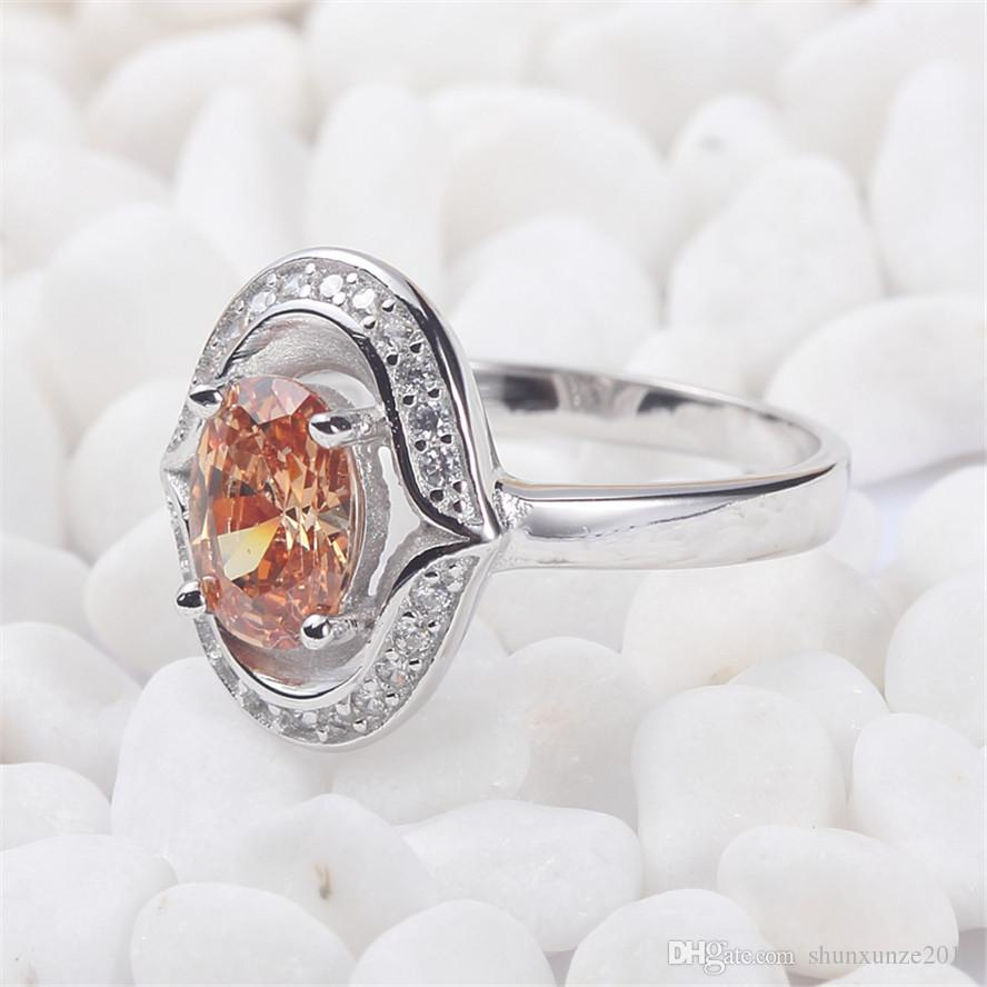 925 sterling silver for women Anéis Champagne Cubic Zirconia Favorito S - 3724 sz # 6 7 8 9 Rave comentários Noble Generous Best Sellers Brand New