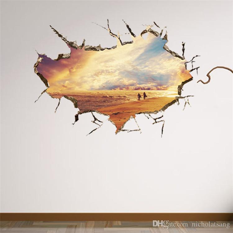 고품질 이동식 3D 깨진 벽 태양 해변 낭만적 인 해변 벽 스티커 거실 침실 TV 세트 배경에 대 한 장식