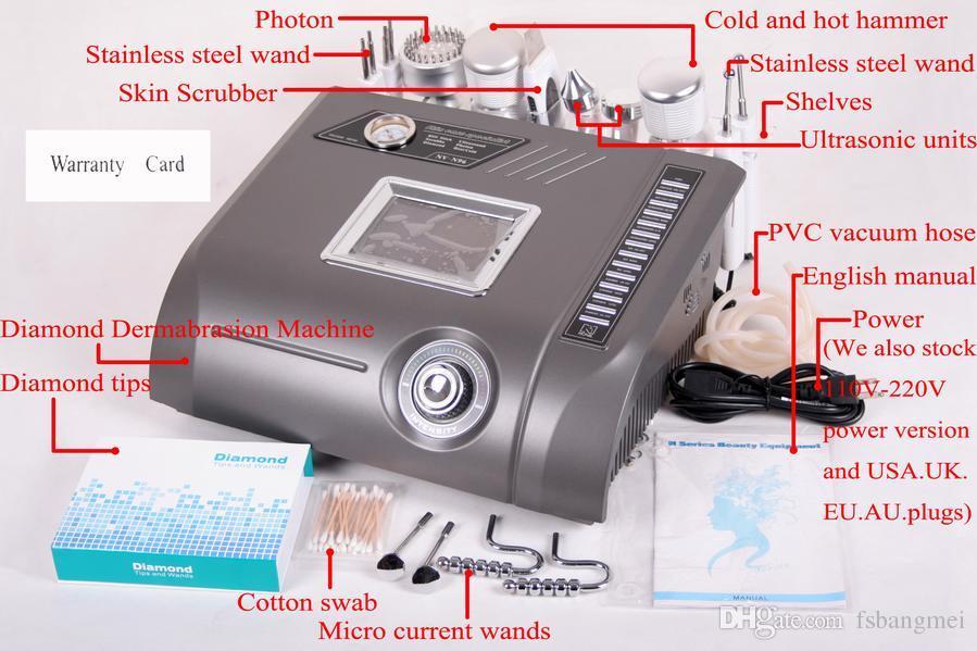 Envío gratis Microdermabrasion Diamond Dermabrasion peeling facial cáscara y lifting facial portátil cuidado de la piel belleza instrumento NV-N96