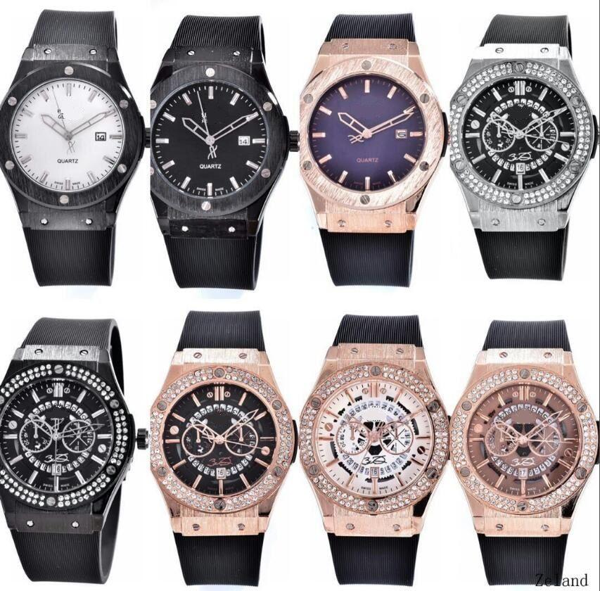 2018 hommes amoureux femmes montres de luxe mode cadran noir support de calendrier fermoir pliant bracelet en silicone maître mâle cadeau de luxe montres pour hommes