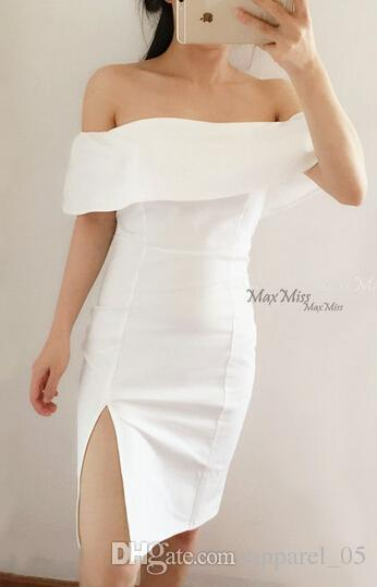 e902cd505251 Designer Classic Little White Dress Irregular Off Shoulder High Split Skirt  Wine Red Vintage Dress Sexy Elegant Innocent Pure Angel Woman Dress  Affordable ...