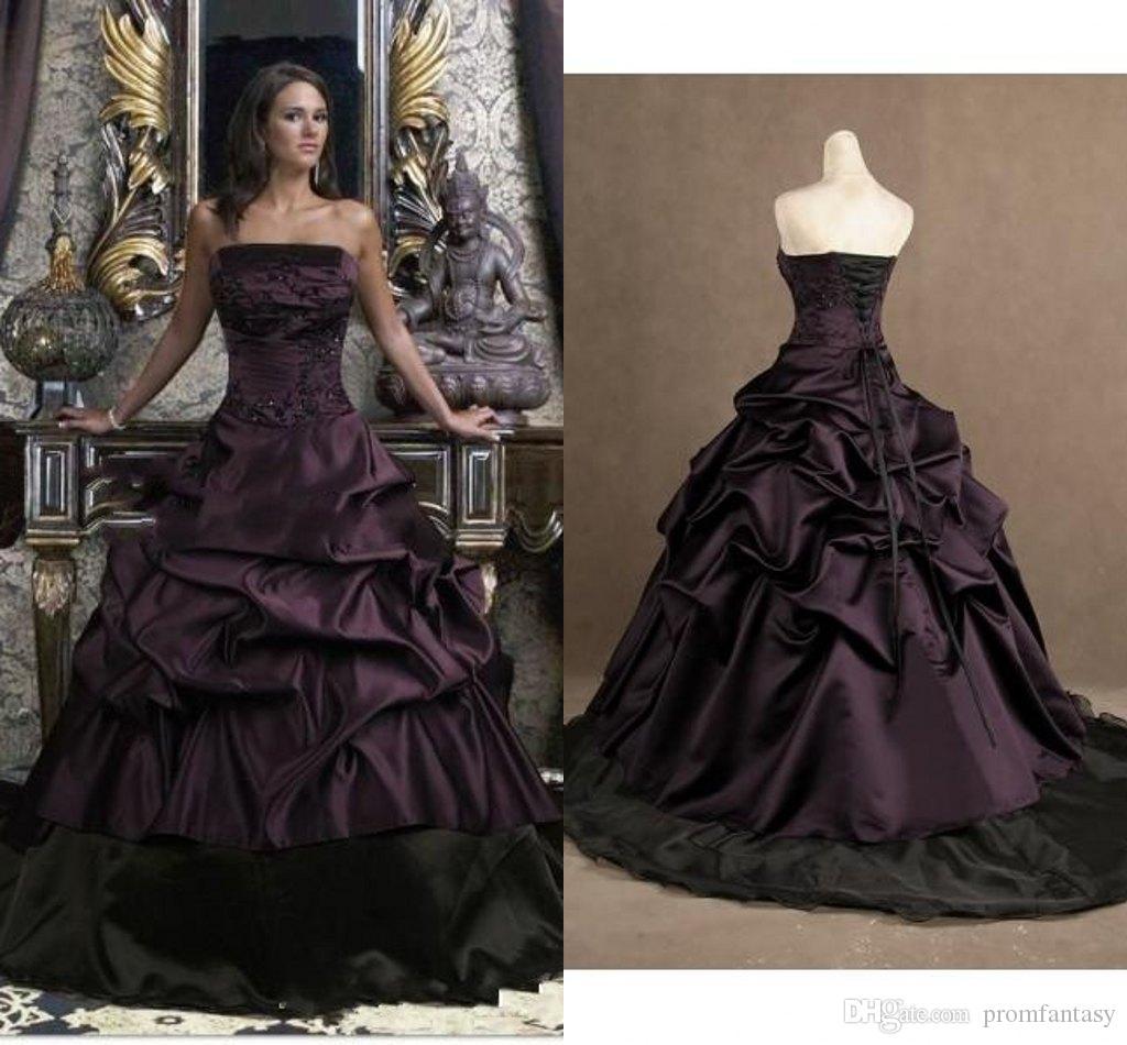 Gothic Wedding Dresses 2016 A Line Strapless Black Taffeta
