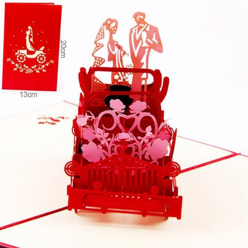 10 adet / grup Sevgililer Günü Hediyeleri Düğün Davetiyesi Kartları Özelleştirilebilir El Yapımı Vintage Düğün Araba 3D POP Up Tebrik Kartları
