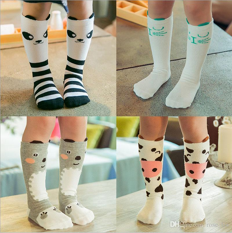 27 Design 2016 Meninas INS fox meias meias grátis DHL crianças urso dos desenhos animados joelho alta leggings bebê chevron perna aquecedores de algodão meias B