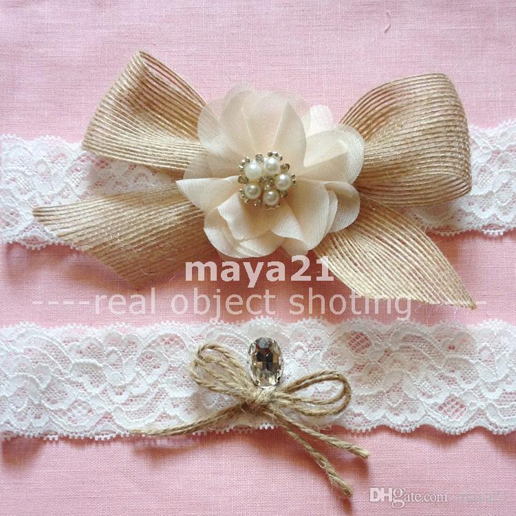Country Wedding Garters: Rustic Burlap Bridal Wedding Garter Set Flower Bow Wedding