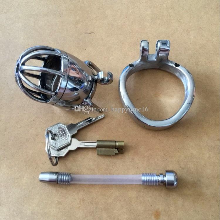 Il più recente Brand 70 millimetri di lunghezza in acciaio inossidabile Super piccolo dispositivo di castità maschile con catetere e versione anti-off 2.75