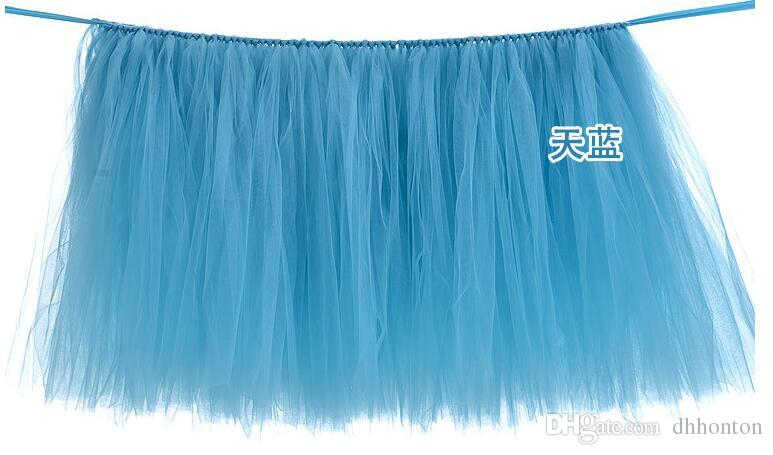 Tulle Table Skirt Tutu Table Decoration for Weddings Invitation Birthdays Baby Bridal Showers Parties WQ19