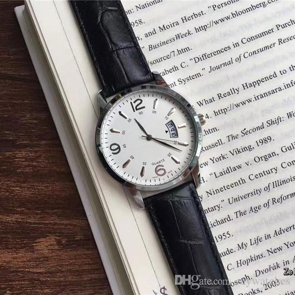 Ultra-ince marka erkek İzle Lüks Deri kayış Otomatik tarih İş Kuvars saatler erkekler erkek için en iyi hediye Yüksek kalite saatler