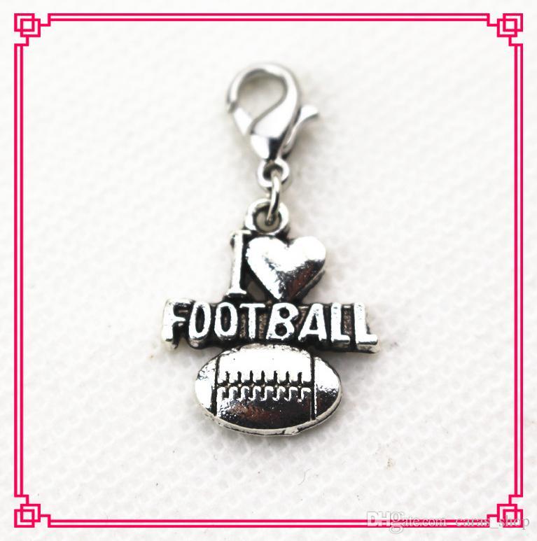 / J'aime le football de baseball de football natation volley-ball Dangle charmes BRICOLAGE Bracelets Bijoux Accessoire sport Charms homard fermoir charme