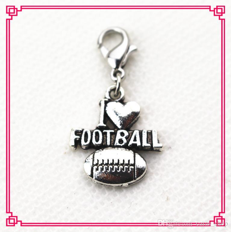 Vente chaude / J'aime le football Dangle Charmes DIY Braceletsbangles Bijoux Accessoire sport Charmes homard fermoir charme