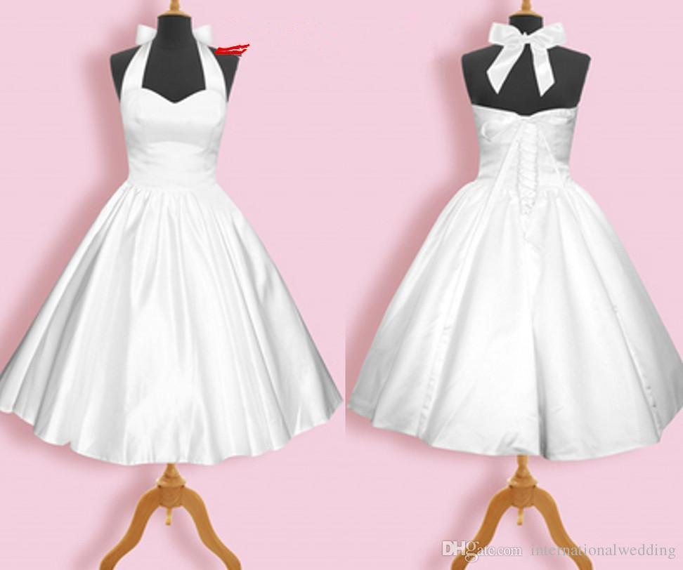 Compre Vestidos De Dama De Honor Blanco De La Vendimia 1950s Una ...