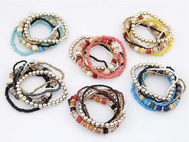 2017 Hot! Wholesale Bohemian Summer Jewelry MutiLayer Beads Bracelets & Bangles for Women Elastic Strand