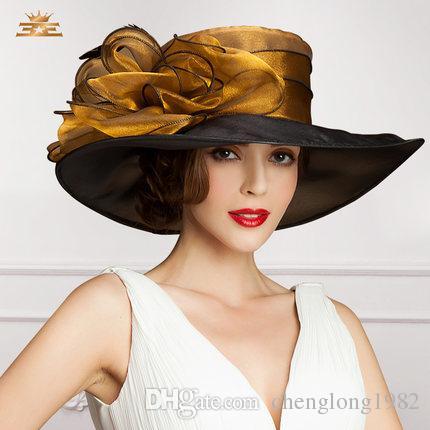 Cappello da donna Cappello da donna con cappello sinamay di nuova creazione Cappello da donna con cappello di organza di nuova concezione