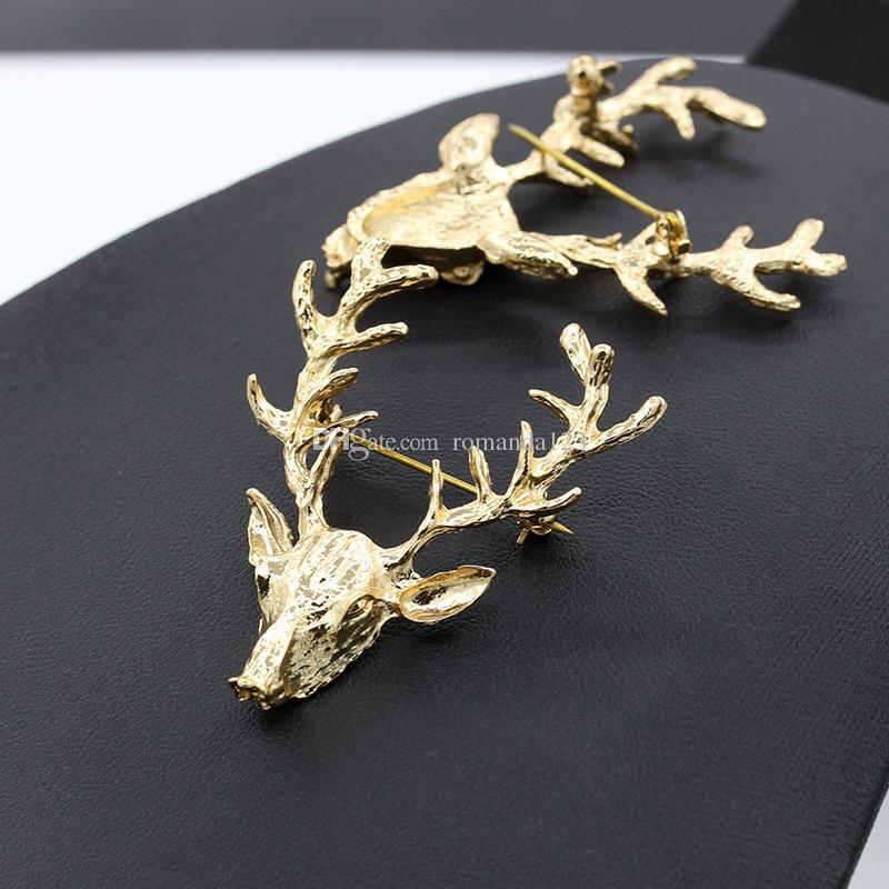 Unisexe Animal De Noël De Noël Populaire Mignon Plaqué Or Elk Cerf Bois Antlers Tête Broches Styling Bijoux DHL livraison gratuite