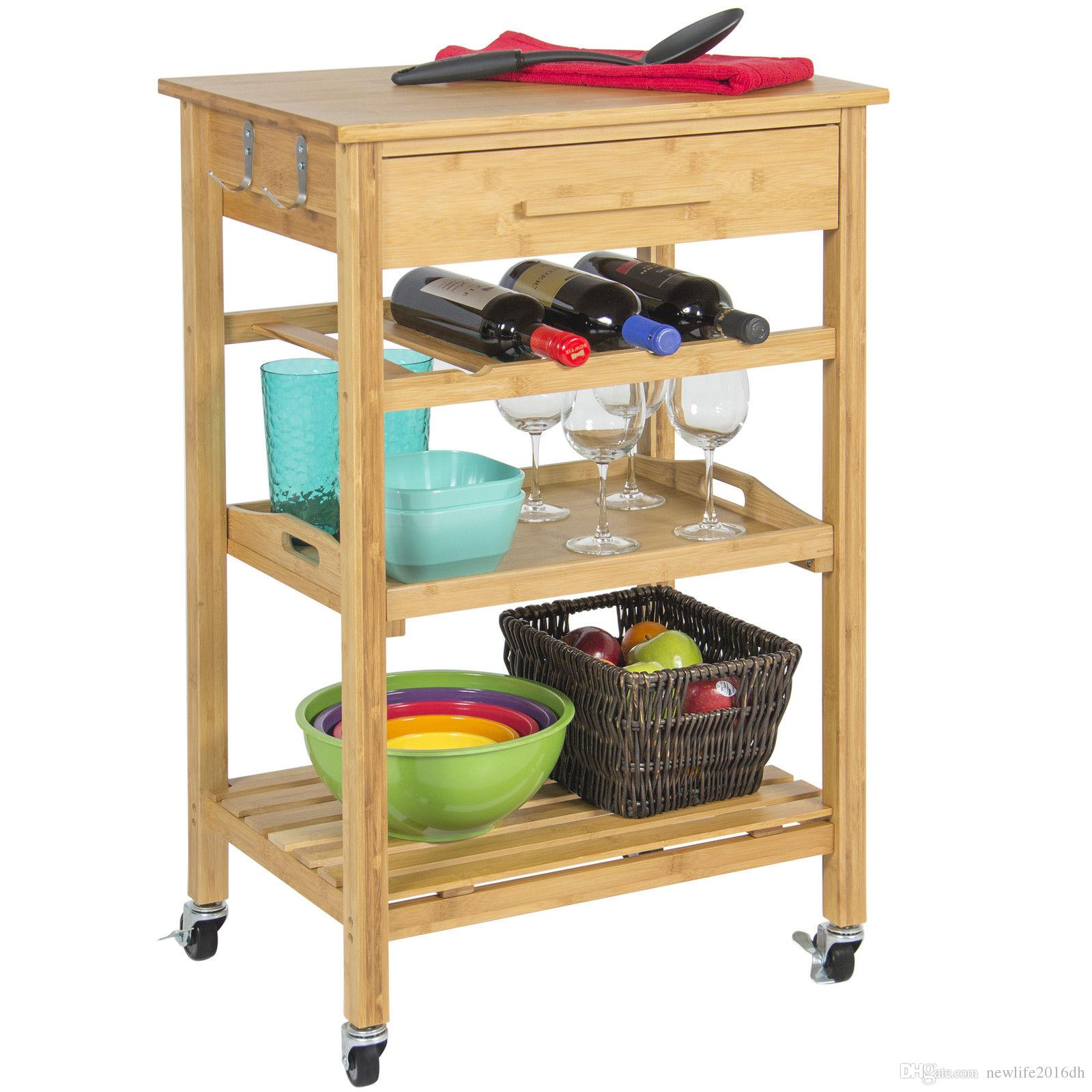 2018 rolling wood kitchen storage cart rack with drawer shelves home furniture from newlife2016dh 90 46 dhgate com