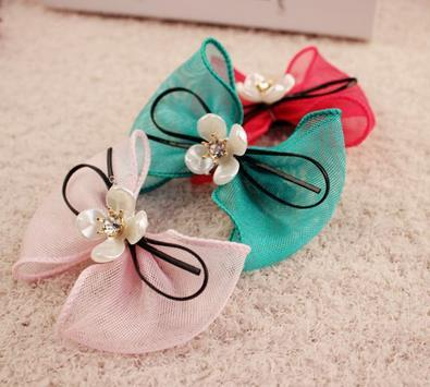 2016 grils bow Hair Rubber Bands hair jewelry head bands wholesales Diamond bow hair ring hair rope
