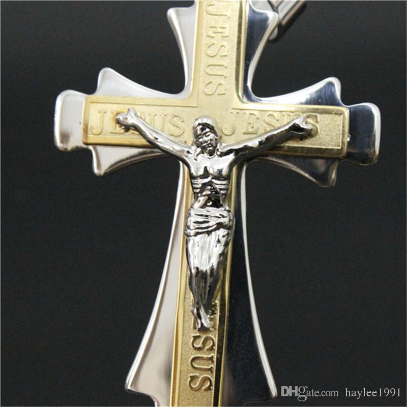 3 teile / los Nicht-verblassen Goldene Riesige Kreuz Anhänger Edelstahl Modeschmuck Band Party Unisex Freiheit Jesus Kreuz Anhänger