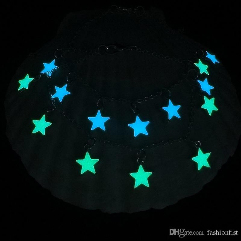 Halloween Party Blue Green Braccialetto a stella incandescente Glow in the Dark Fata Fluorite Braccialetto magico gioielli braccialetto