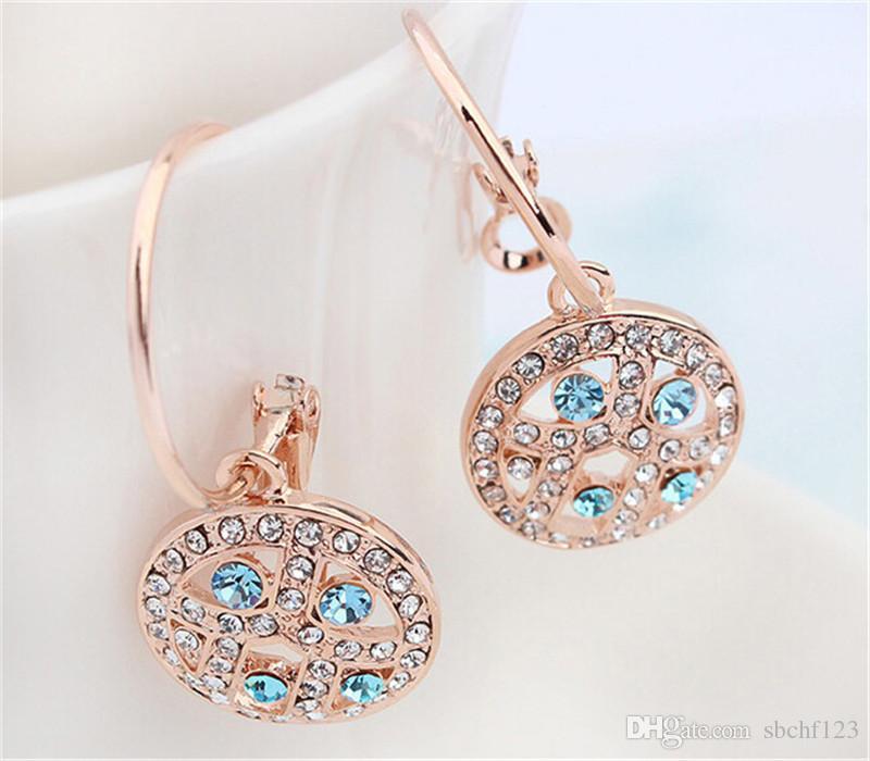 Luxus Edlen Strass Kristall Baumeln Ohrringe Für Frauen 18 Karat Champagner Vergoldet Ohrringe Prom Schmuck 12678