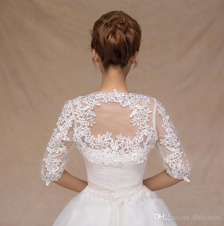 New Fashion Sheer Long Sleeve Lace Bridal Jackets for Wedding Ladies Jackets Bridal Accessories HT119