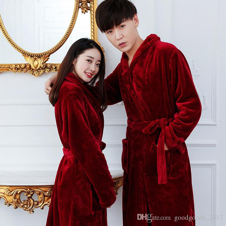 2018 Wholesale Bath Robe Female Lovers Flannel Night Gown Spa ...