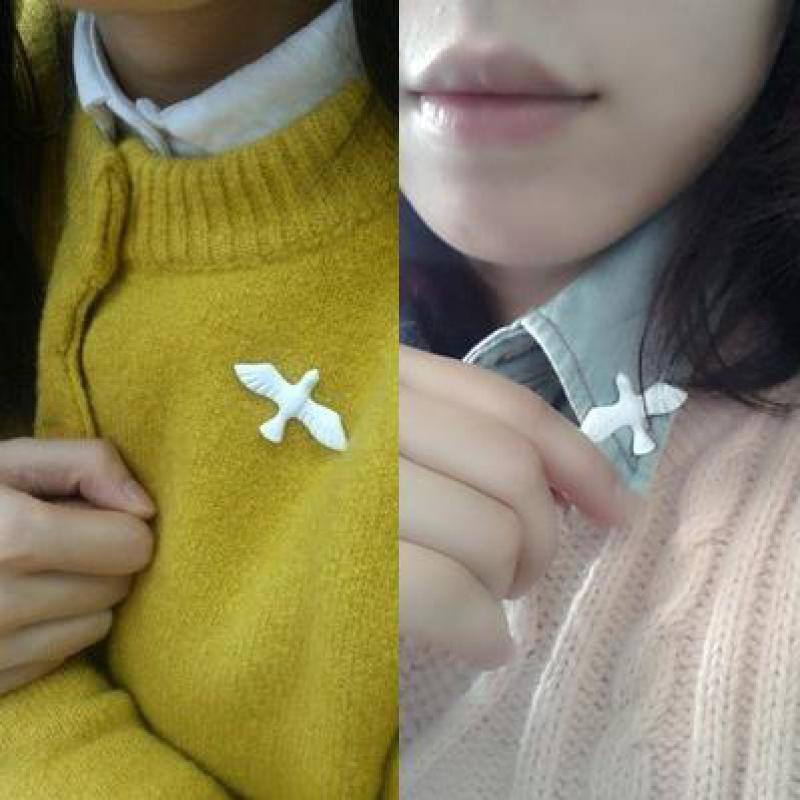 Littéraire coréen frais Vintage colombe blanche de la paix colombe de la paix broche corsage collier épinglette bijoux gros broches pour les femmes