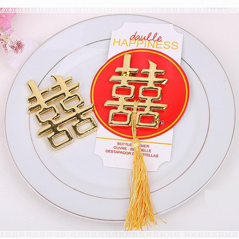 Libero Laser Cut doppio di modo di trasporto Felicità apribottiglie favore il partito di nozze cinese favori e regali gli ospiti