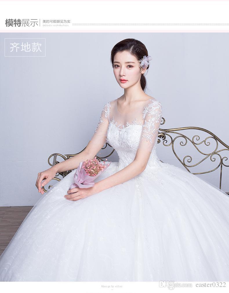 2016 New Winter Qi Wedding Dress Bride Korean Simple Thin Tail ...