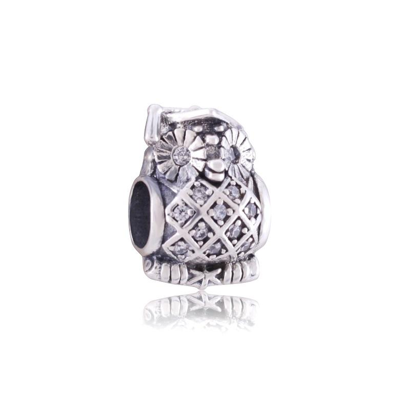 New Hot sale 925 sterling silver owl charms with crystal for jewelry making fit Pandora style jewelry bracelets