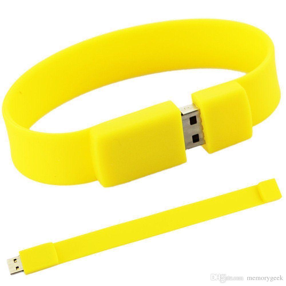 Braccialetto in silicone moda genuino da 8 GB 16 GB 32 GB 64 GB USB 2.0 Memory Stick Penna Penna Drive Thumb U Disco 32 GB 64 GB 128 GB 256 GB