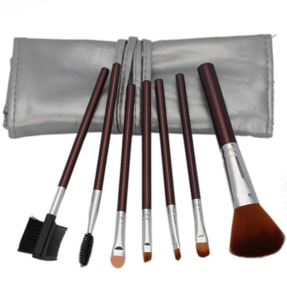 7 STÜCKE Make-Up Pinsel Set Professionelle Überlegene Weiche Kosmetik Lidschatten Lidschatten Foundation Blending Pinsel-werkzeug Mit Silber Tasche Braun