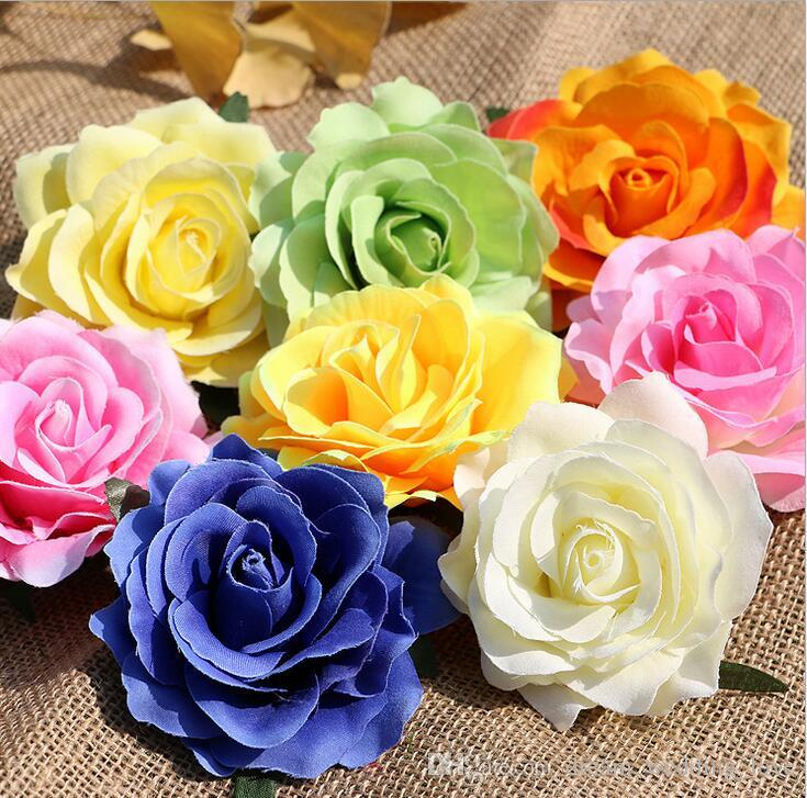 rose heads artificial flowers plastic fake flowers head high quality silk flowers wedding decoration wall WF008