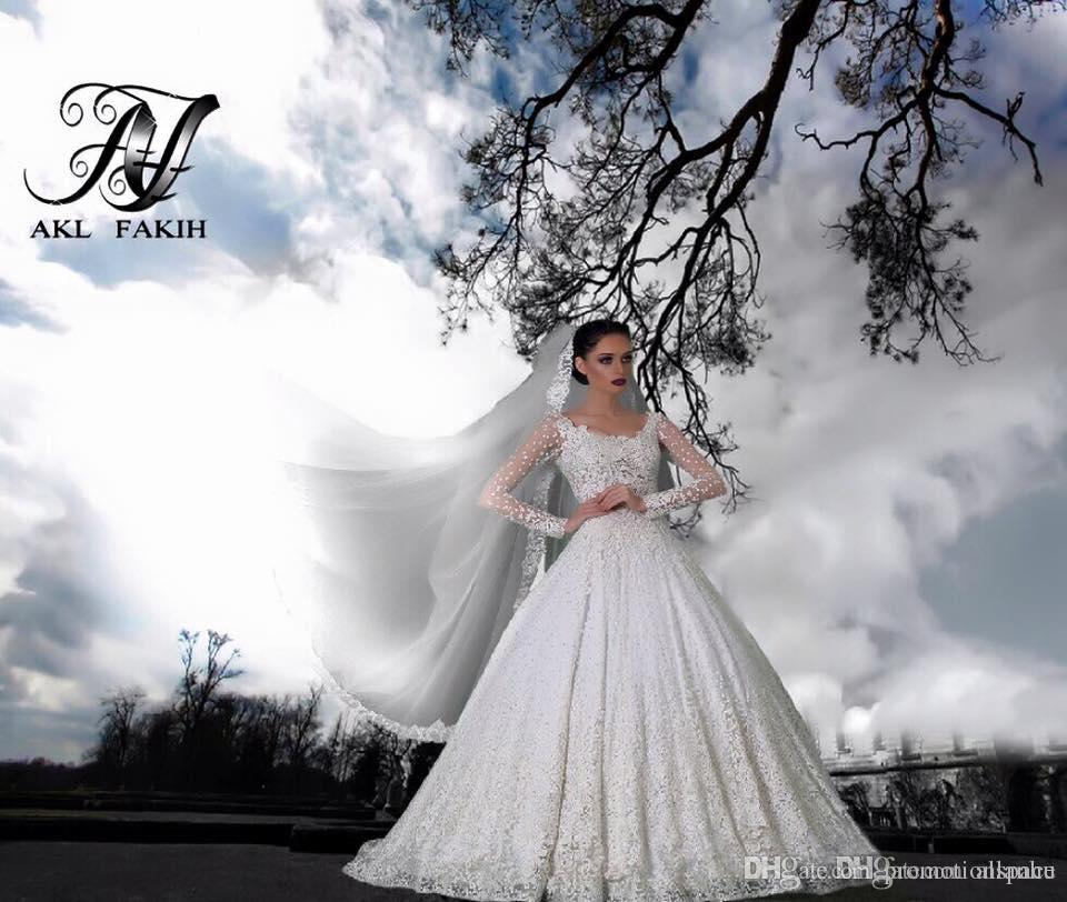 아랍어 긴 소매 레이스 볼 가운 웨딩 드레스 2016 말했다 Mhamad 신부 드레스 사용자 정의 럭셔리 웨딩 가운했다