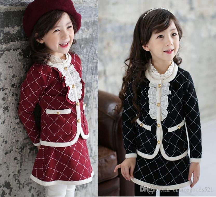 a9cb43d612c6 New Girl Clothes Sets Baby Girl Jacket+Skirt Pants Set Kids Lattice ...