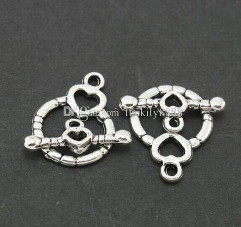 Silver Plated Toggle Clasp Ring Round Heart Clasps For Jewelry Making Bracelets 14x18mm