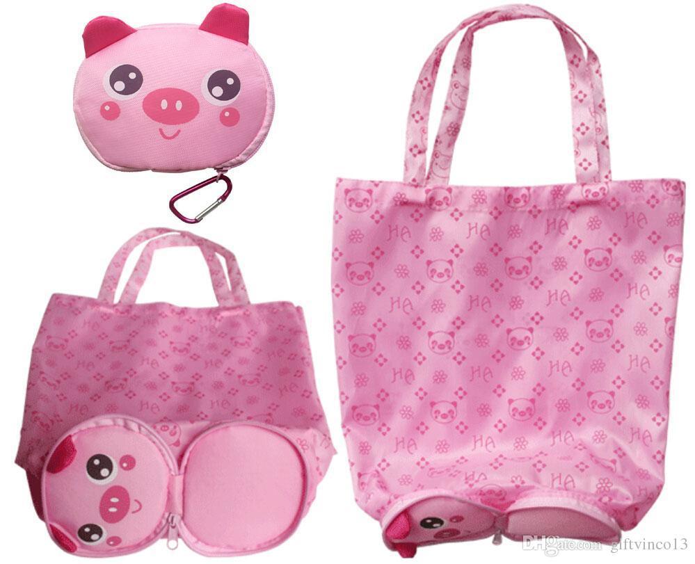 new design shopping bags cute cartoon animal folding grocery bags