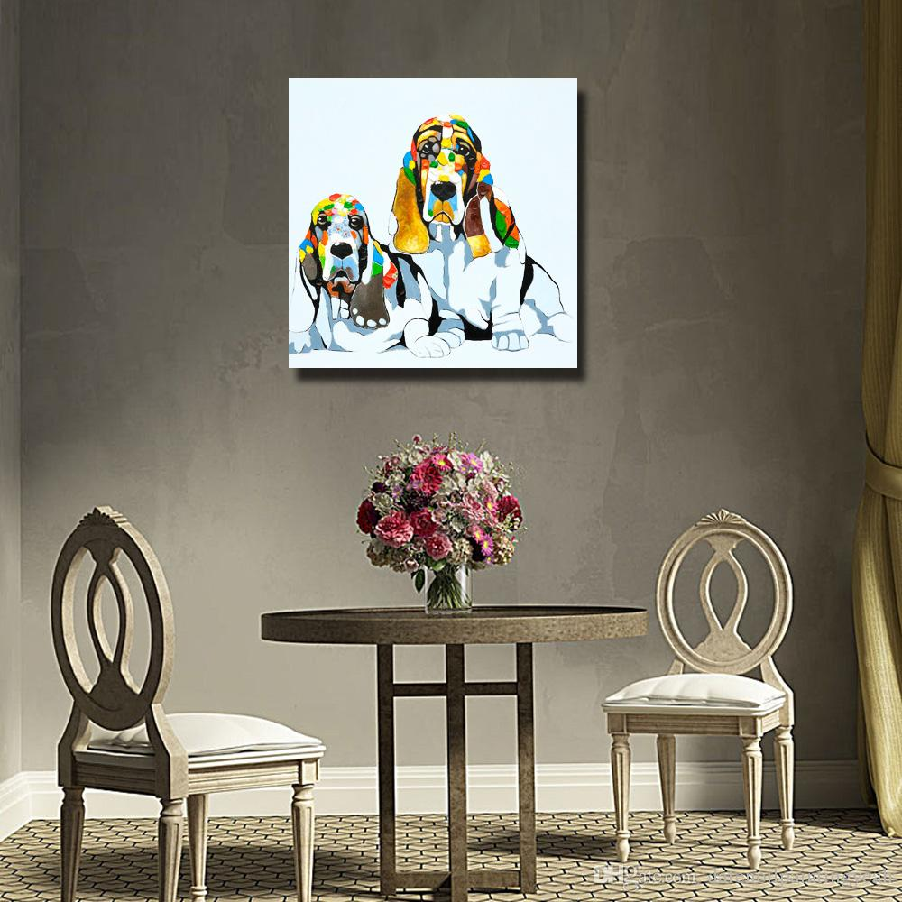New Design Modern Animal Pictures on Canvas Home Decor Living Room Wall Pictures Abstract Dog Oil Painting 1 Peices No framed