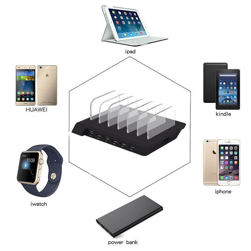 6 puertos 10.2A USB Charge Station Universal Desktop Tablet Smartphone Multi-Device Hub Charging Dock Holder Soporte para iPhone iPad Galaxy Quick