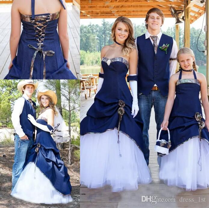 Latest 2017 Country Cowboy Camo Wedding Dresses Blue Denim