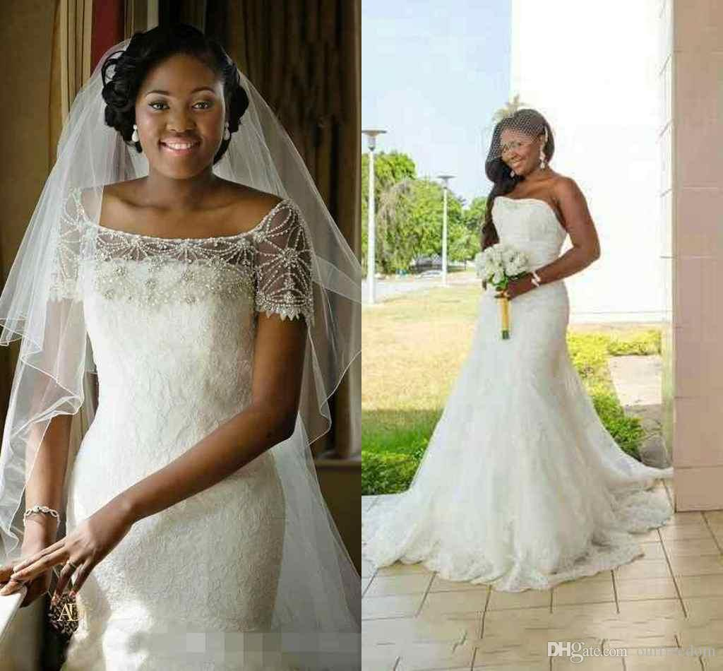 Nigerian 2017 Wedding Dresses Plus Size Vintage Sweetheart Neck Beads Tulle Lace Sexy Custom Bridal Gowns 2015