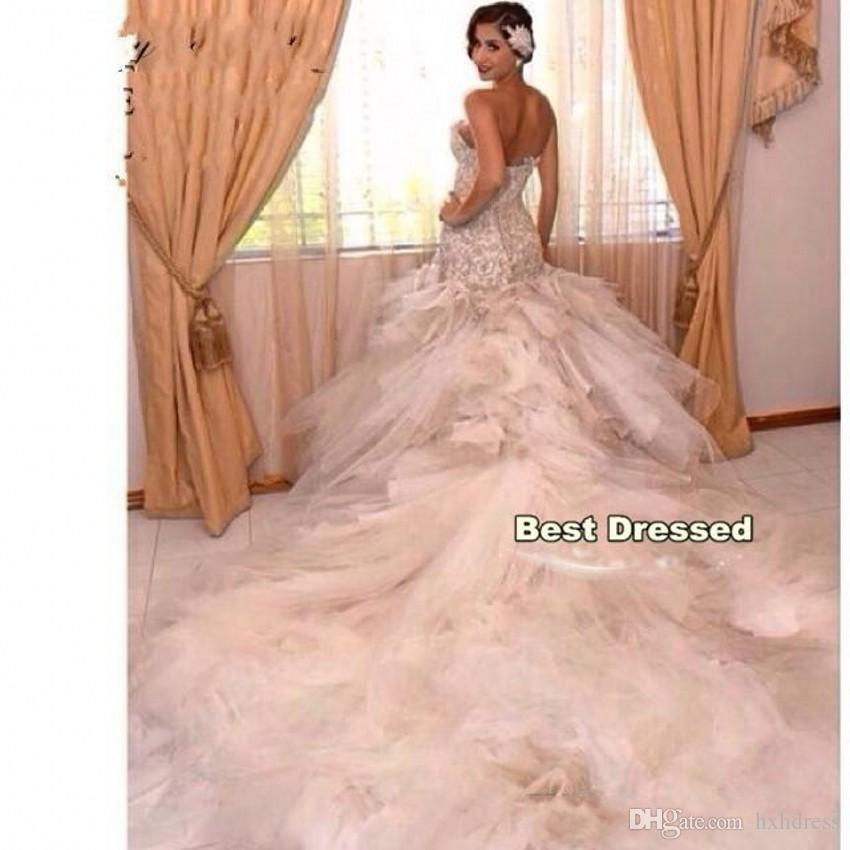 2019 새로운 레이스 인어 공주 웨딩 드레스 대성당 기차 섹시한 연인의 신부 가운 뒤로없는 플러스 사이즈 아랍어 봄 신부 드레스 388