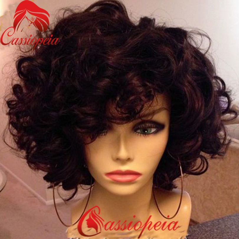 New Short wavy human hair full lace bob wig with bangs Malaysian Virgin hair bob full lace wig with bangs for black women