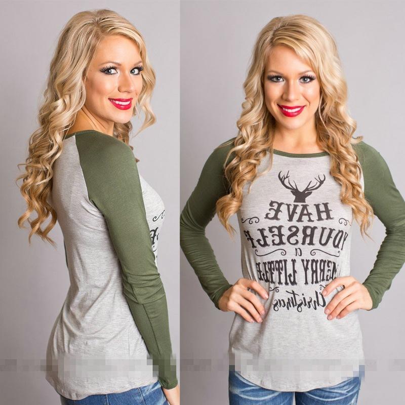 80103d5faa6d8 Wholesale Christmas Women Long Sleeve Gray Womens Tops Autumn Tee Shirt  Women Fashion Style T Shirt Cotton New Plus Size Tshirt T Shirt Printing  Shirts From ...