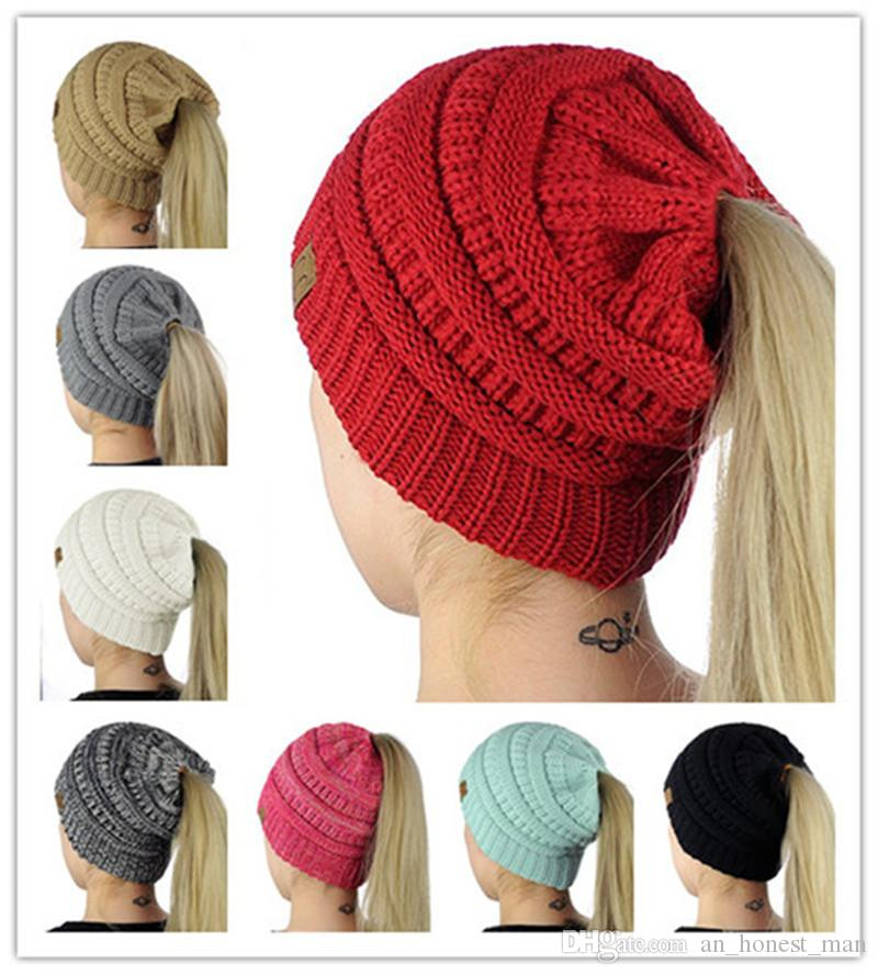 Women Cc Ponytail Caps Cc Knitted Beanie Fashion Girls Winter Warm