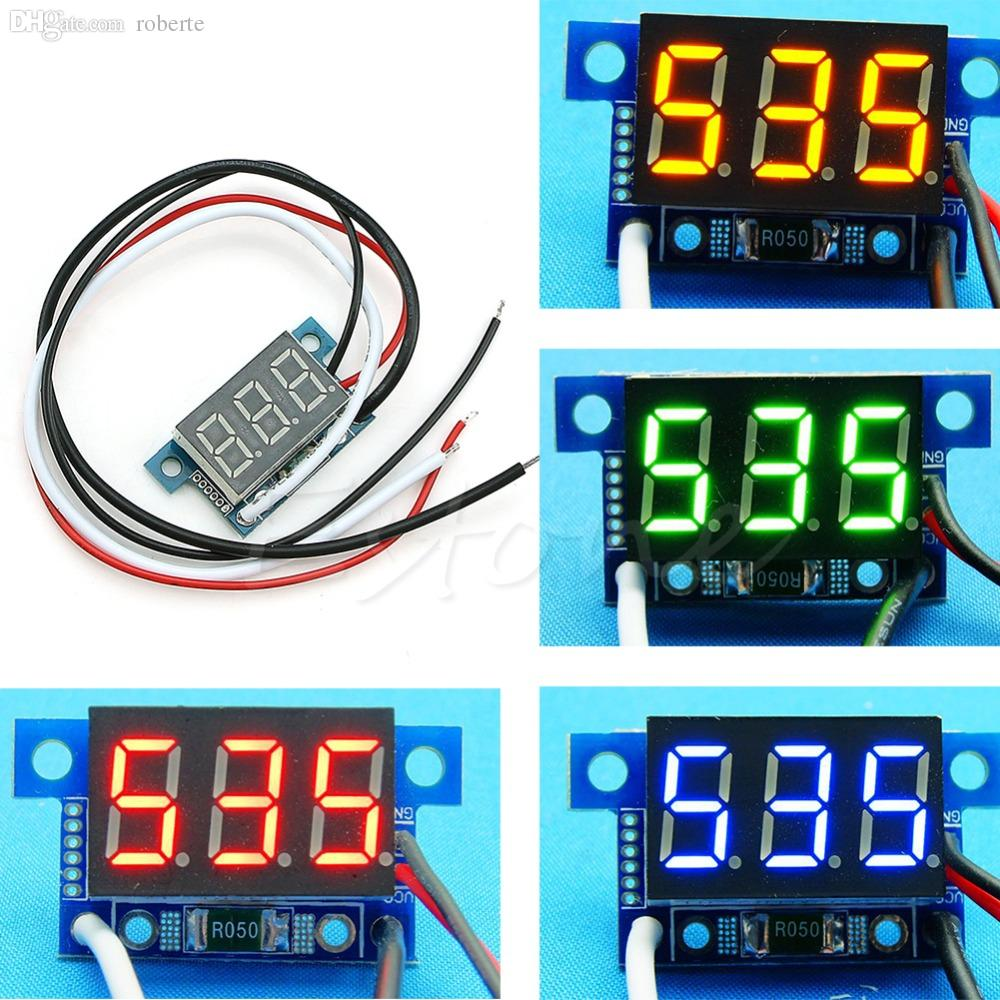 Wholesale-A96 Free Shipping 1Pc Mini LED 0-999mA DC 4-30V Digital Panel Ammeter Amp Ampere Meter with Wire