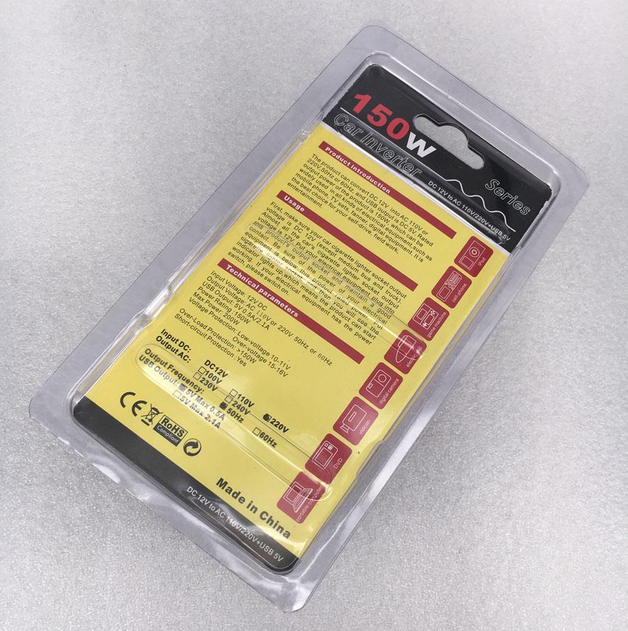 Adaptador de cargador de inversor de corriente para automóvil de 150 vatios 12v dc a ca convertidor de corriente alterna 220v con cargador de 5v usb para teléfono celular adaptador de aire portátil adaptador de aire libro