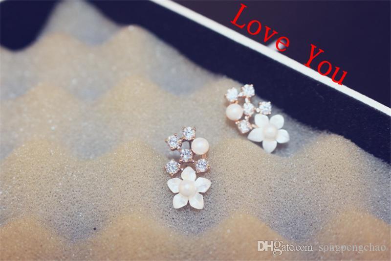 neuen Stil der koreanischen Temperament Ohrstecker Shell Zirkon Perle Blumenohrringe für Frauen Schmuck Mode-Accessoires