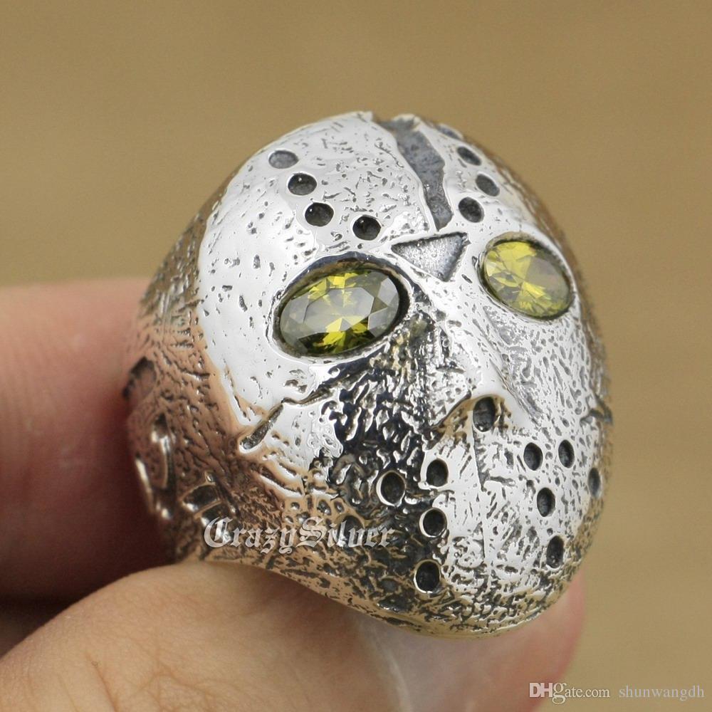 925 Sterling Silver Halloween Jason Mask Black Olive Eyes Mens Biker Rocker Punk Ring 9D104 US Size 7 ~ 15