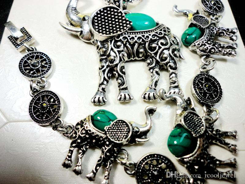 Fashion Jewelry Hot major Vintage Antique Silver Elephant turquoise Necklace Pendant Earring For Women Jewelry Sets LR140