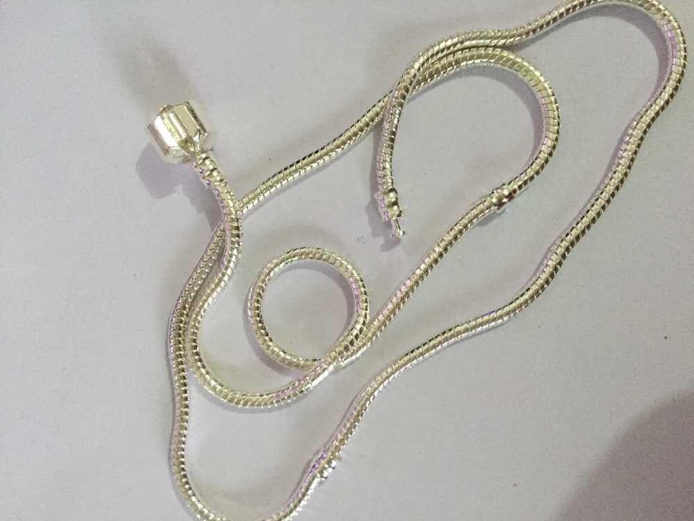 Promotion Alloy Silber Schraube Bare Halskette Hand Made Kette passt Eurpean Perlen Charms 45-50CM Länge Halskette